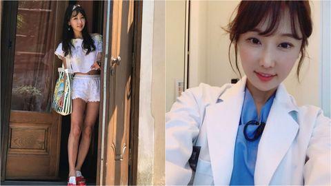 Clothing, Uniform, Leg, Gravure idol, Japanese idol, School uniform, Blazer, Human leg, Top, Black hair,