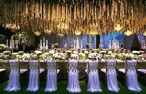 Decoration, Function hall, Lighting, Wedding reception, Event, Ceremony, Floral design, Wedding banquet, Floristry, Tree,