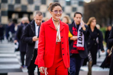 Street fashion, Red, Fashion, Clothing, Outerwear, Suit, Blazer, Human, Event, Jacket,