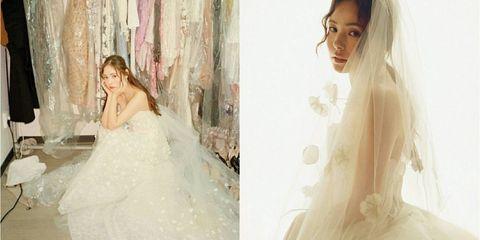 Wedding dress, Gown, Dress, Photograph, Bride, Clothing, Bridal clothing, Veil, Bridal accessory, Beauty,