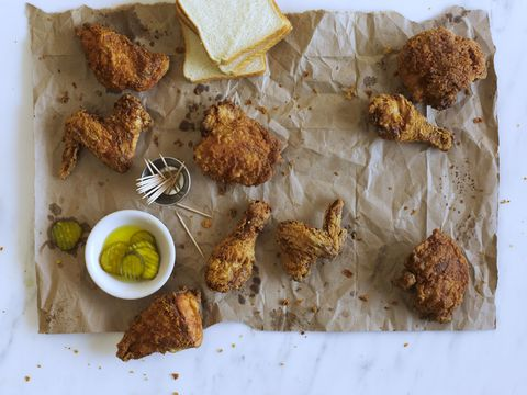 fried chicken and pickles