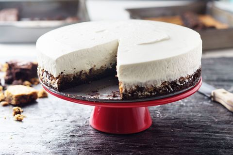 brownie and cookie crust cheesecake