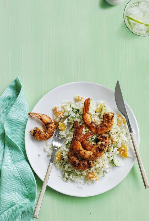 cauliflower couscous with paprika shrimp