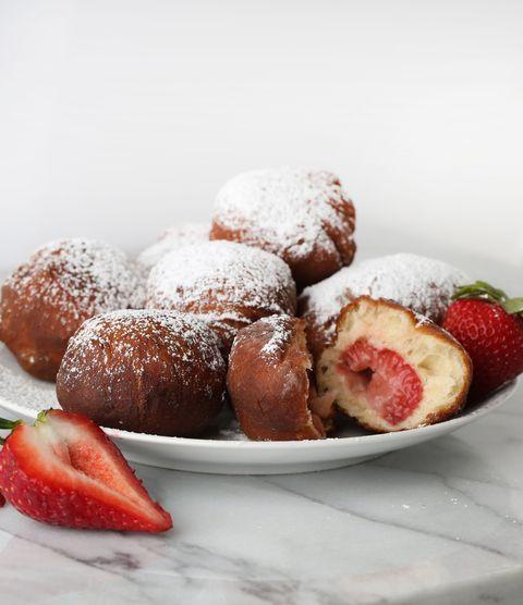 strawberry stuffed doughnuts