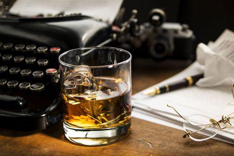 bourbon on desk
