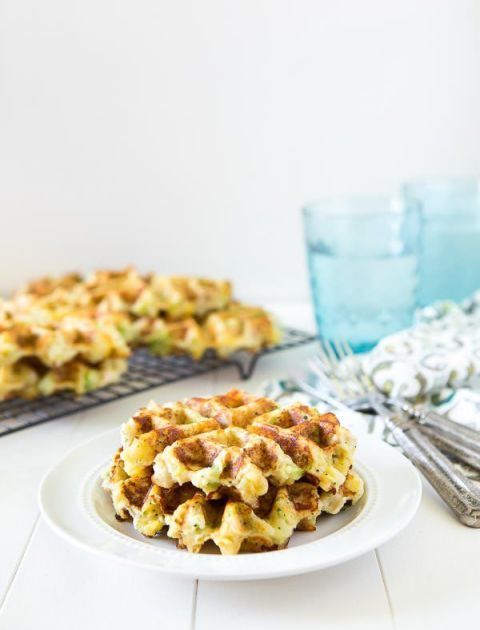 chicken broccoli and cheddar potato waffles