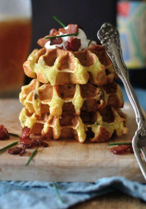 waffled potato kugel with bacon