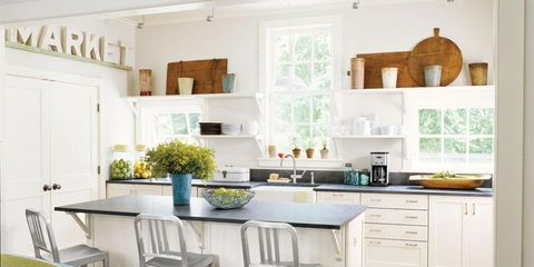 Room, Interior design, Wood, Green, Floor, Flooring, Home, White, Countertop, Furniture,