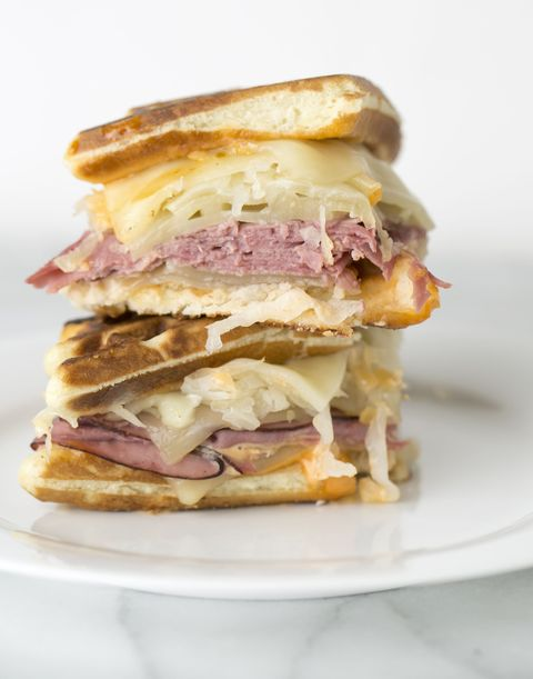 Corned beef, melted Swiss cheese, sauerkraut, and Russian dressing.