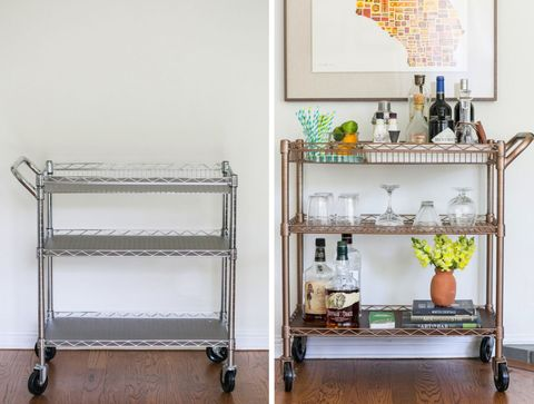 "<p>An industrial kitchen cart gets more elegant thanks to some bronze spray paint and leather, which blogger <a target=""_blank"" href=""http://sugarandcharm.com/"">Sugar and Chic</a> laid out on the bottom shelf and wrapped around the handle.</p> <p><a target=""_blank"" href=""http://theeffortlesschic.com/2014/the-home/diy-bar-cart-transformation/"">Get the instructions at The Effortless Chic »</a></p>"