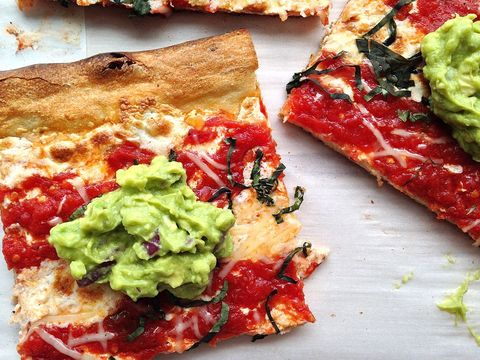 Pizza with guacamole