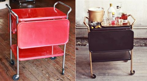 "<p>Emma at <a target=""_blank"" href=""http://www.abeautifulmess.com/"">A Beautiful Mess</a> transformed this little retro-red cart into a grown up black-and-gold bar. All this easy makeover required? Spray paint.</p> <p><a target=""_blank"" href=""http://www.abeautifulmess.com/2012/07/a-restyled-liquor-cart.html"">Get the full tutorial at A Beautiful Mess »</a></p>"