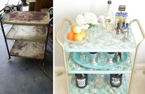 "<p>Too rusty to salvage? <a target=""_blank"" href=""http://addisonmeadowslane.com/diy-bar-cart/"">Addison Meadows Lane</a> wasn't daunted when she spotted a seriously grungy garage sale find. She turned it into this cute, chevron-patterned cart.</p> <p><a target=""_blank"" href=""http://addisonmeadowslane.com/diy-bar-cart/"">See more at Addison Meadows Lane »</a></p>"