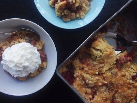 Strawberries and Cream Boozy Dumpcake