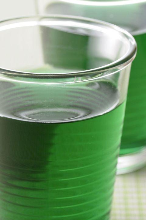 Liquid, Green, Fluid, Drink, Drinkware, Alcoholic beverage, Solution, Liqueur, Menta, Juice,