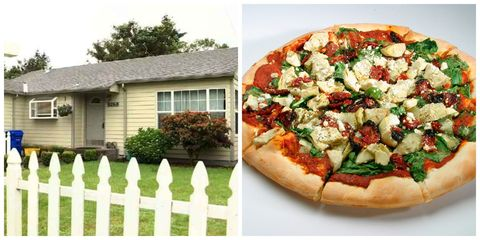Window, Picket fence, Food, Property, Cuisine, Pizza, Baked goods, Finger food, House, Vegetable,
