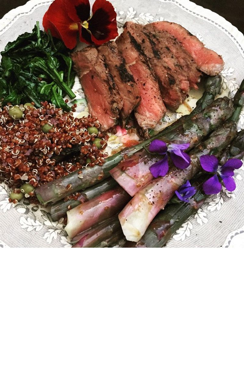 """The designer fills our feed with fabulous photos of both fashion and food, like this dinner of sautéed spring vegetable steak, asparagus and quinoa. <a target=""""_blank"""" href=""""https://instagram.com/zac_posen"""">@zac_posen</a>"""