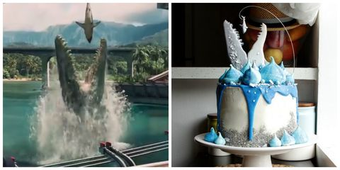 "<p>We had to show you a side-by-side of <a target=""_blank"" href=""https://www.youtube.com/watch?v=xUC1-DfLmAk"">Koalipops' masterpiece</a>: A great white shark cookie dangles perilously over this meringue-topped and white-chocolate-ganache-dripping cake. <strong>Get the <a target=""_blank"" href=""https://www.youtube.com/watch?v=xUC1-DfLmAk"">tutorial</a>.</strong></p>"