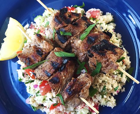 Dish, Food, Cuisine, Souvlaki, Ingredient, Meat, Kebab, Shish taouk, Produce, Staple food,