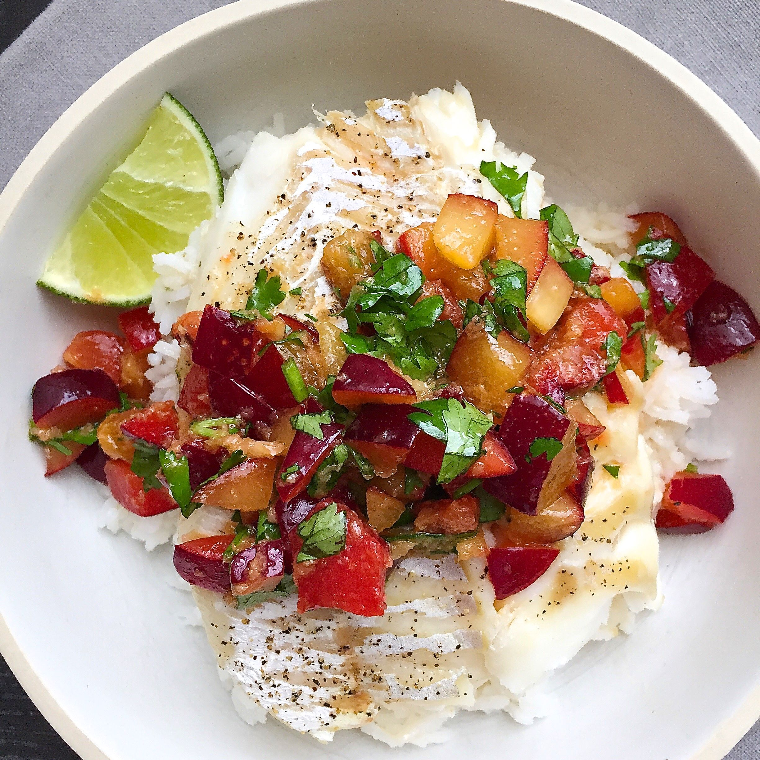 roasted cod with soy ginger plum salsa and jasmine rice recipe