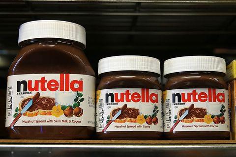 Nutella jars on shelf