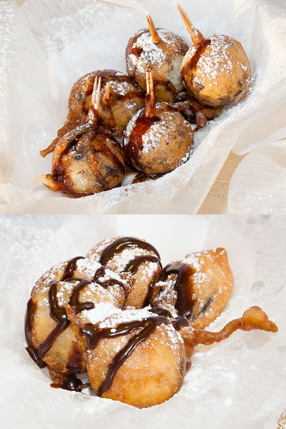 "By far, deep-fried Oreos (bottom photo) are the most popular item Brian ""the deep-fry guy"" Shenkman sells at his stands—and for good reason: When deep-fried, the Oreo basically liquifies, getting you as close to Oreo cookie dough (AKA nirvana) as you can get. If you love that, you've got to try the deep-fried buckeyes, which are essentially balls of peanut butter dough dipped in chocolate, then batter-dipped and fried. It's like the love child of a Reese's Cup and cookie dough."