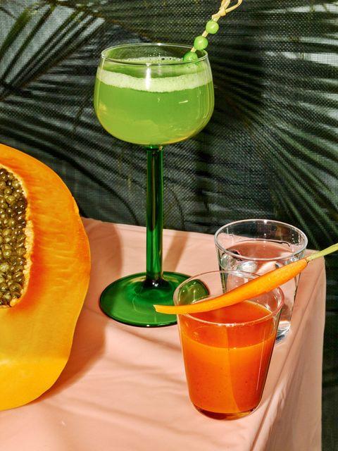 Drink, Liquid, Tableware, Juice, Drinkware, Alcoholic beverage, Cocktail, Glass, Orange, Ingredient,