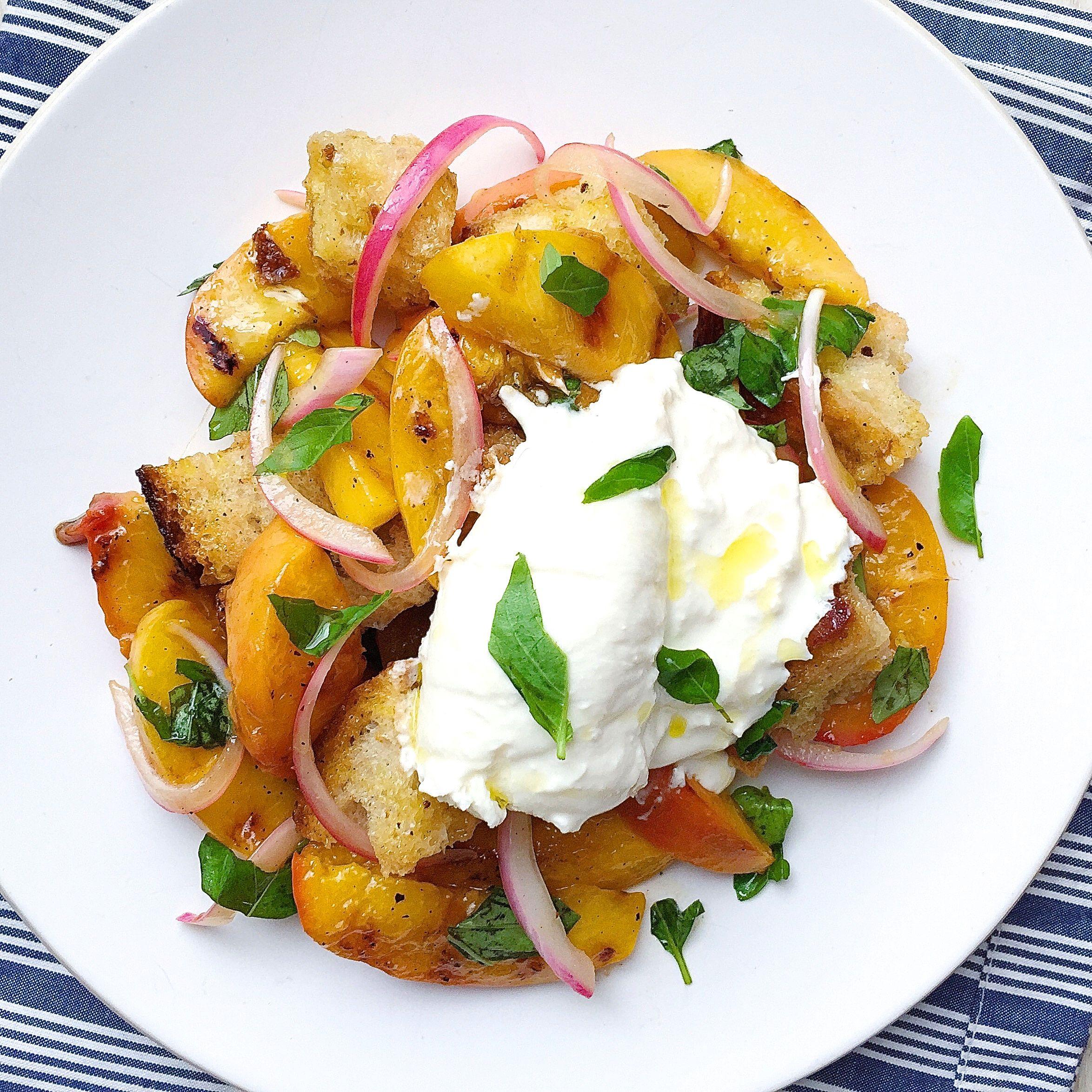 Peach Panzanella with Burrata