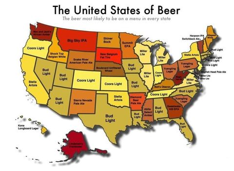 Find A Map Of The United States.Most Common Beer In Every State Map Delish Com