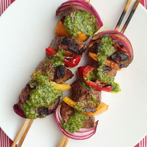 grilled steak skewers with chimichurri