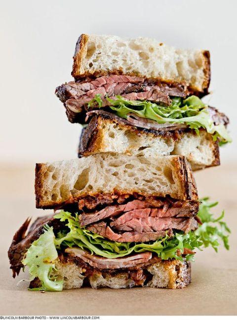 Grilled Hanger Steak & Applewood Smoked Shoulder Bacon Sandwich