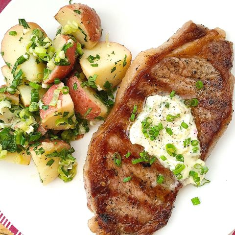 Grilled Steaks with Garlic Chive Butter and French-Style Potato Salad