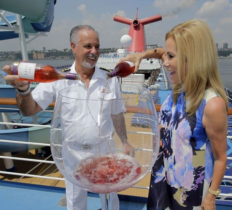 Kathie Lee Gifford Pours Rose into 4-foot-tall Glass