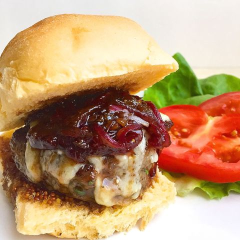 Rosemary Garlic Burgers with Gruyere and Balsamic-Glazed Onions