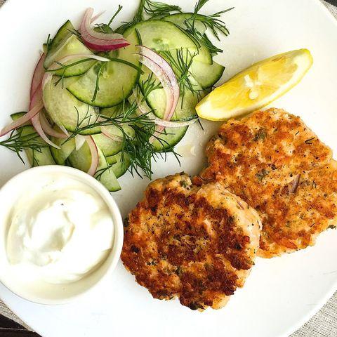 Salmon Cakes with Lemon-Yogurt and Cucumber Dill Salad