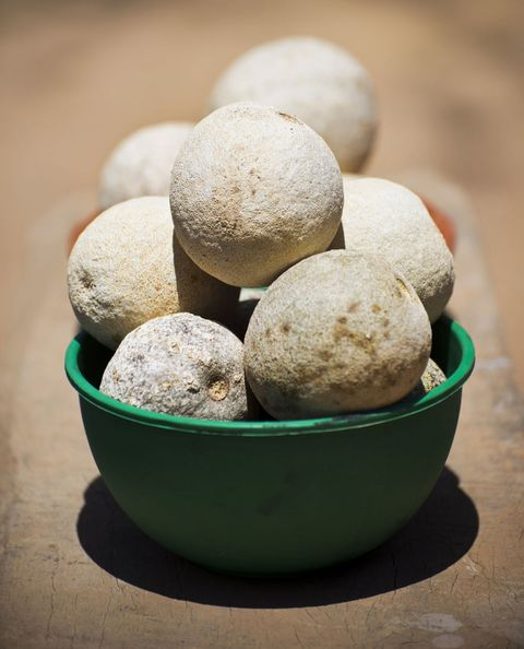 <p>They look like dinosaur eggs, smell like a strange mixture of blue cheese and raisins, and taste a little like tamarind.</p>