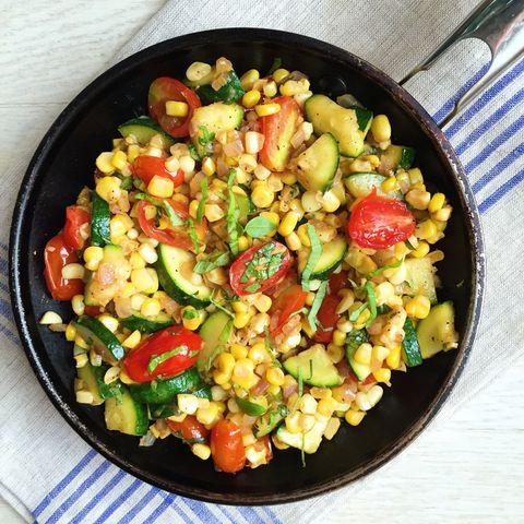 Summer Skillet: Corn, Zucchini, Tomato, and Basil Saute