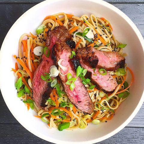 soba noodle salad with grilled flank steak