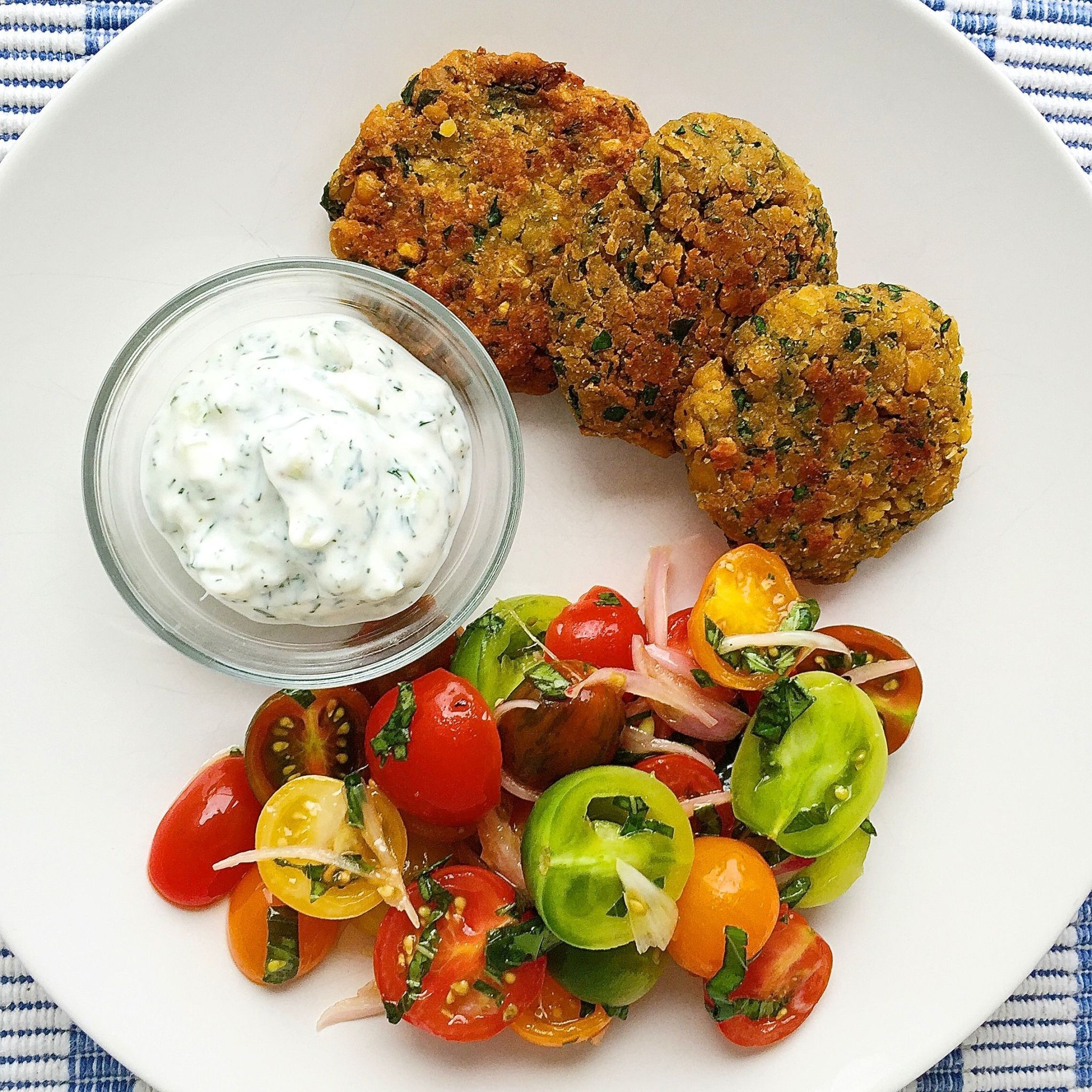 Crispy Chickpea Fritters with Tzatziki and Tomato Salad