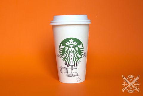Drinkware, Cup, Font, Logo, Orange, Lid, Tumbler, Fast food, Graphics, Peach,