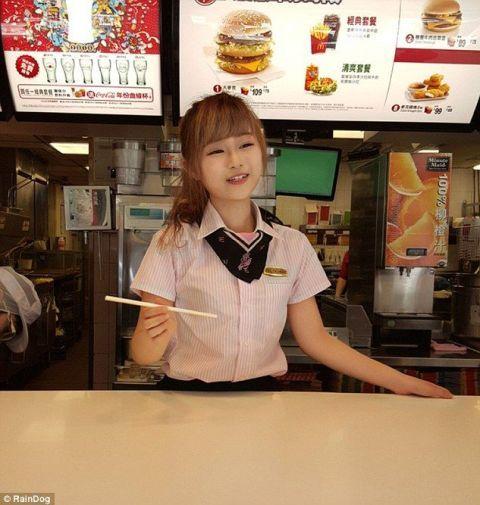 Collar, Restaurant, Advertising, Fast food restaurant, Fast food, School uniform, Signage, Dish, Polo shirt, Food court,