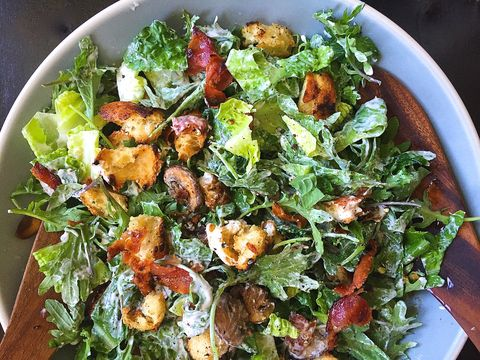Crunchy Salad with Bacon-Ranch Croutons, Mushrooms, and Goat Cheese