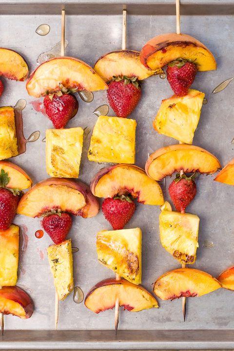 grilled summer fruit skewers