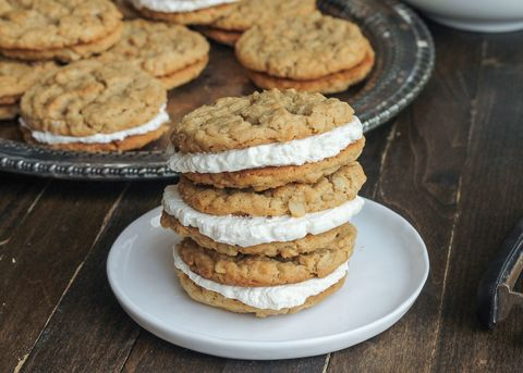 Peanut Butter Oatmeal Sandwich Cookies with Marshmallow Crème Filling