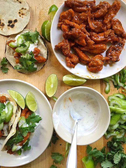Buffalo Chicken Tacos with Ranch Crema