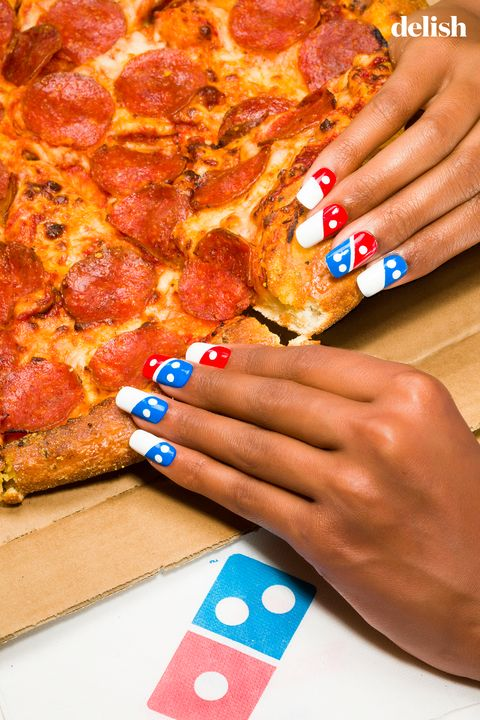 Finger, Nail, Amber, Pizza, Nail care, Baked goods, Nail polish, Ingredient, Recipe, Pepperoni,