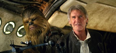 Jacket, Chewbacca, Primate, Fictional character, Wrinkle, Snout, Blond, Leather jacket, Leather, Movie,