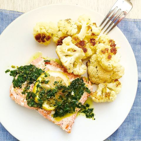 Roasted Salmon and Cauliflower with Parsley-Caper Sauce