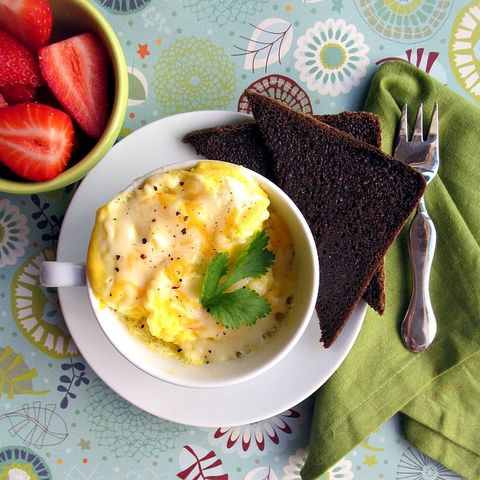 """<p>This ultimate life hack is perfect for dorm rooms, office kitchens, or any situation where you really just can't deal with busting out a pan. </p><p><em><a href=""""http://www.wherethecookiesare.com/2012/02/03/2-minute-scrambled-eggs/"""" target=""""_blank"""">Get the recipe from Home is Where the Cookies Are »</a></em><br></p>"""