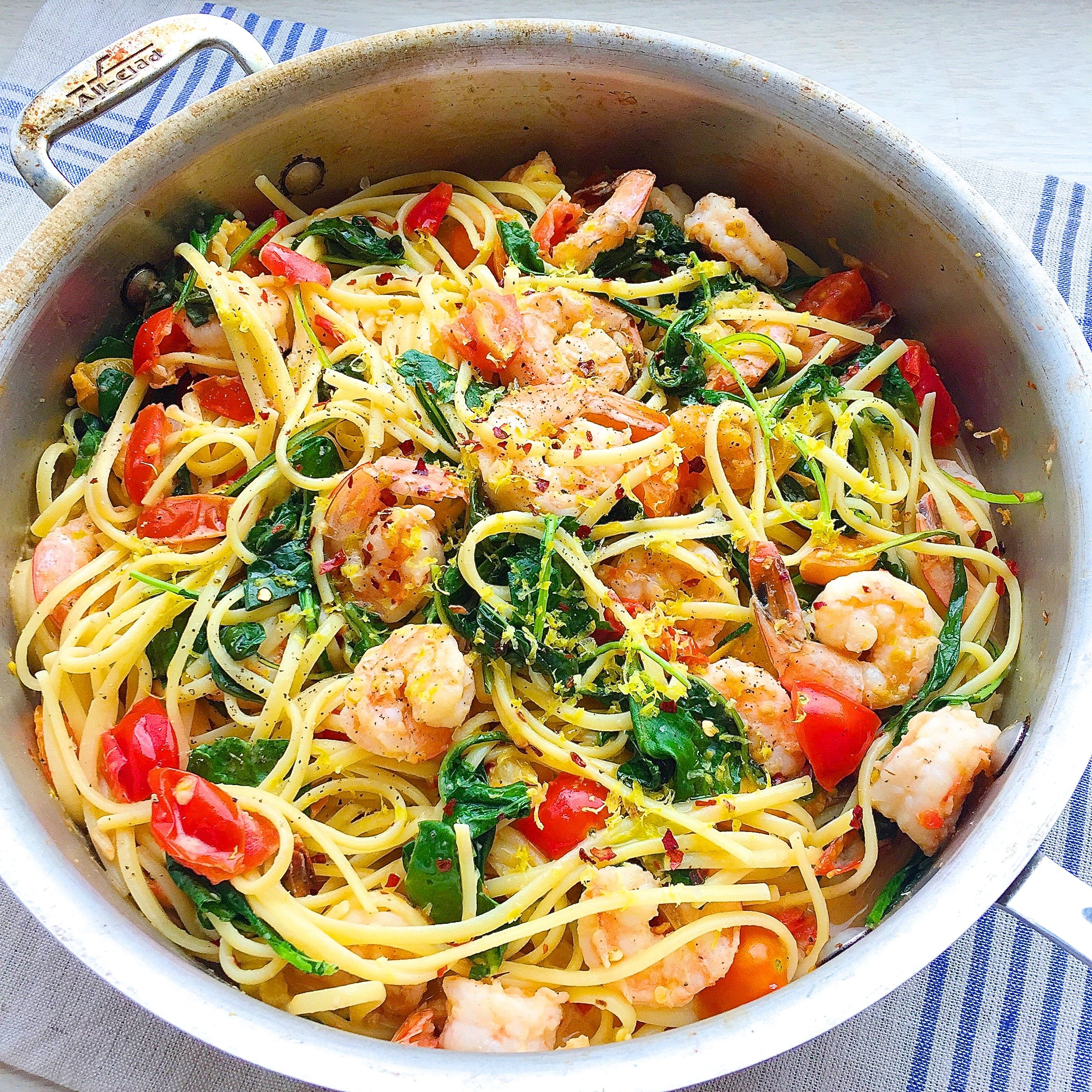 Best Creamy Shrimp Linguine With Tomatoes Kale And Lemon Zest Recipe How To Make Delish